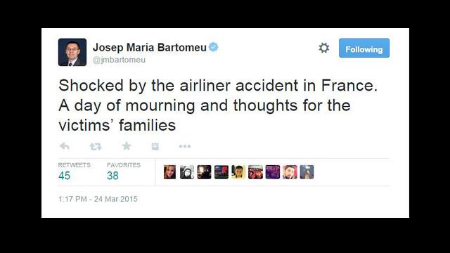 El FC Barcelona muestra sus condolencias por el accidente del vuelo #4U9525 con destino a Düsseldorf