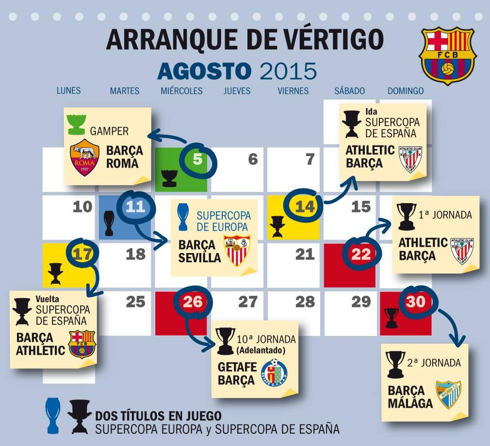 Calendario Del Barcelona.Calendario Fc Barcelona Agosto 2015 Pena Barcelonista Cafetera De Cali